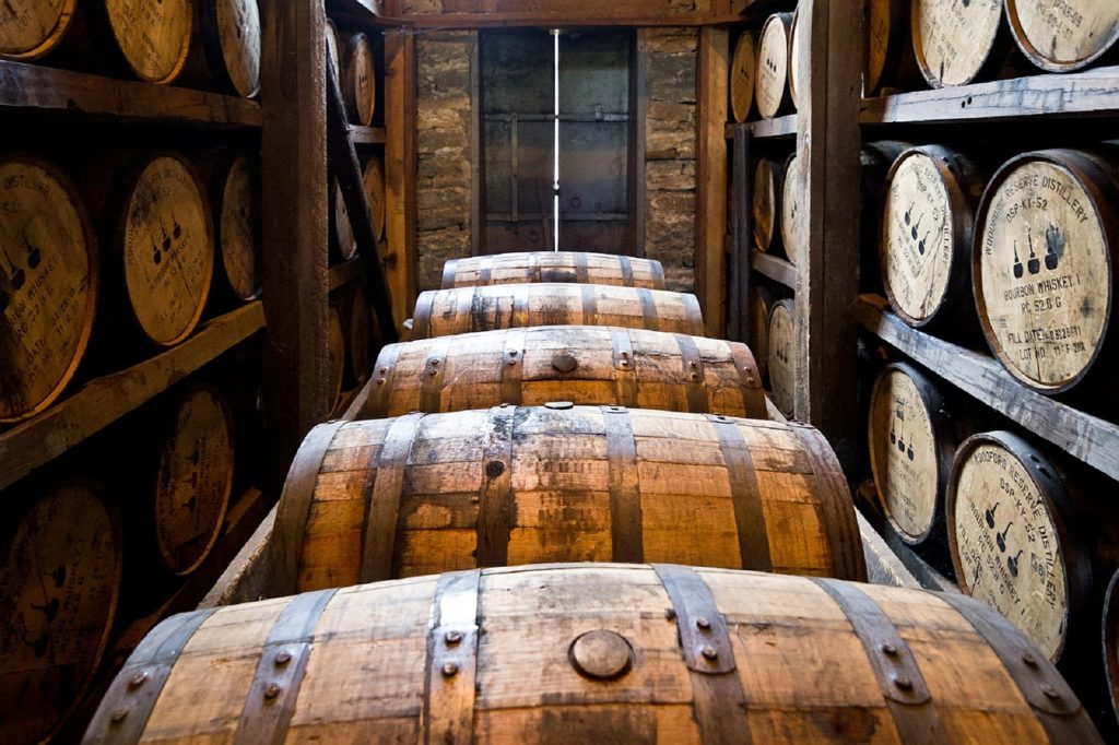 bourbon barrels in a rickhouse