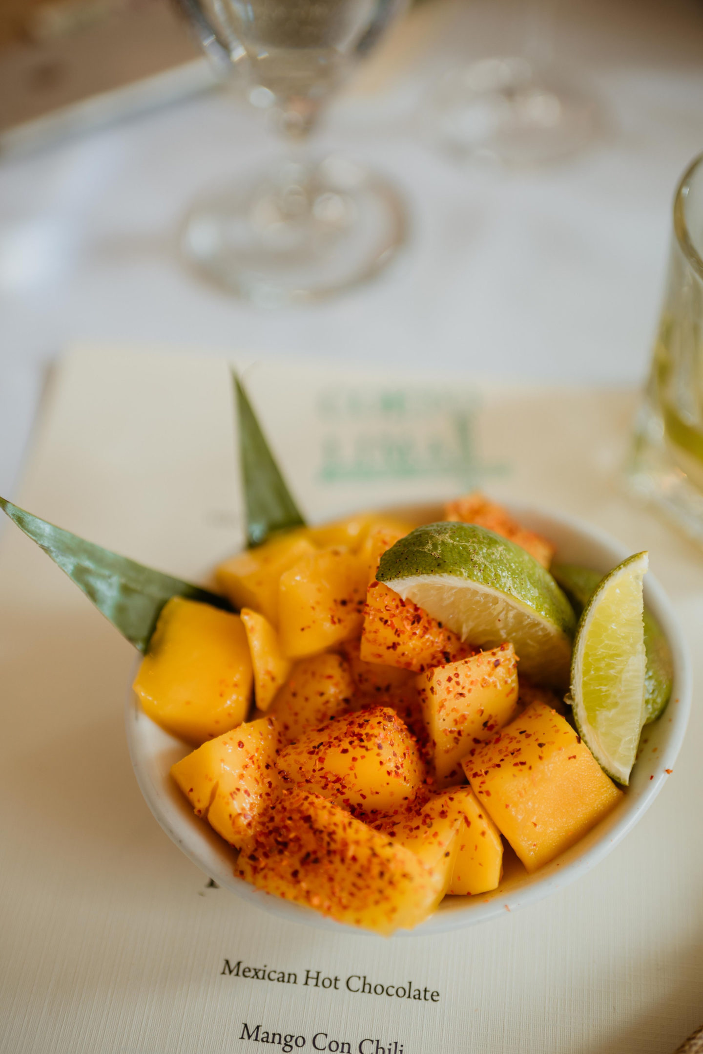 A bowl of Mango Con Chili with Lime from Corto Lima in Lexington, Kentucky