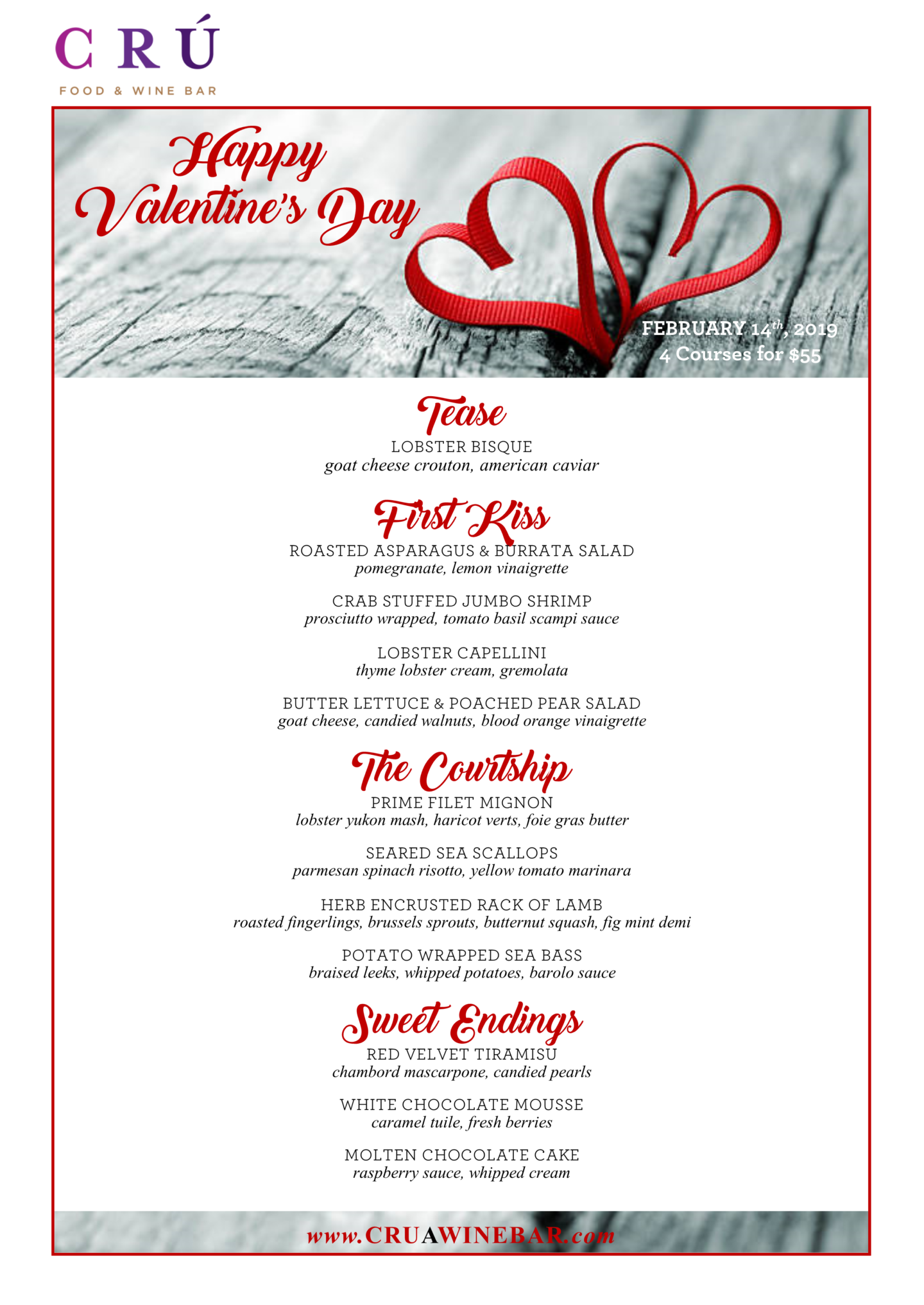 Cru Bar at The Summit at Fritz Farm's Valentine's Day menu