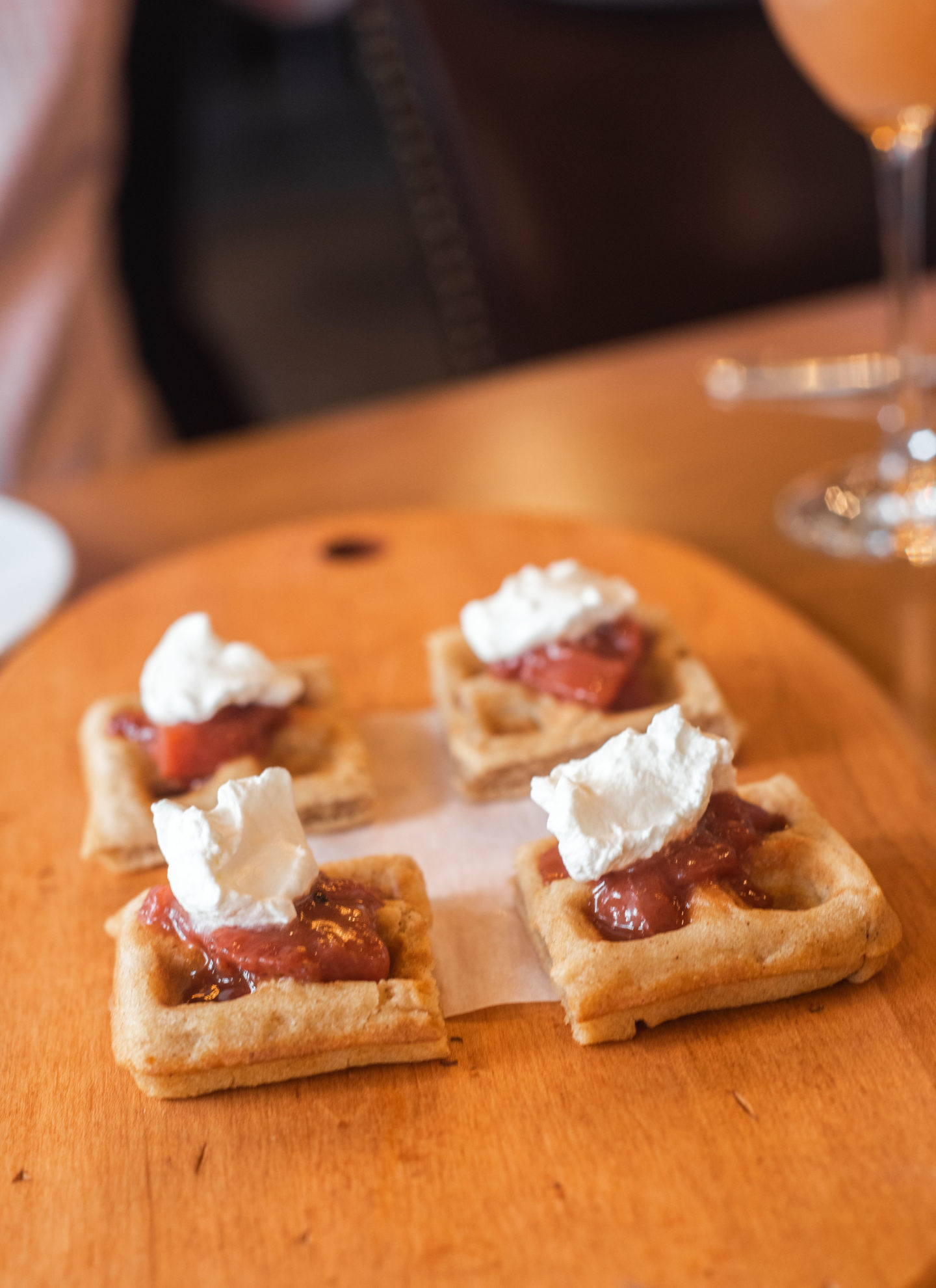 Mini Belgian Waffles, which came with strawberry compote and vanilla whipped cream.