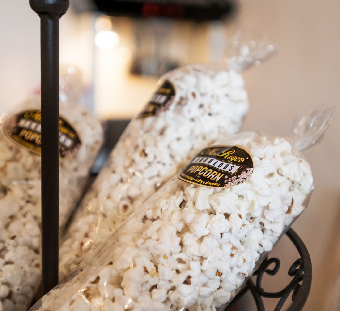 Bags of white chocolate popcorn