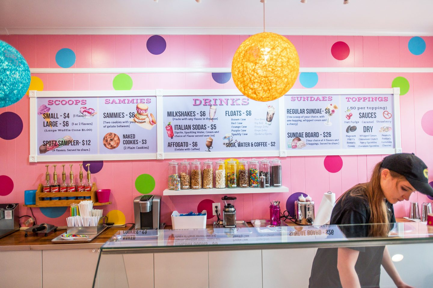 Pink walls with colorful decor of a gelato shop