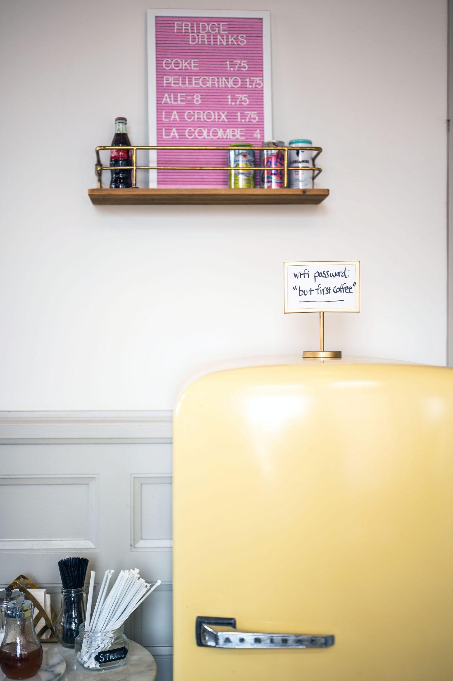 Vintage yellow refrigerator