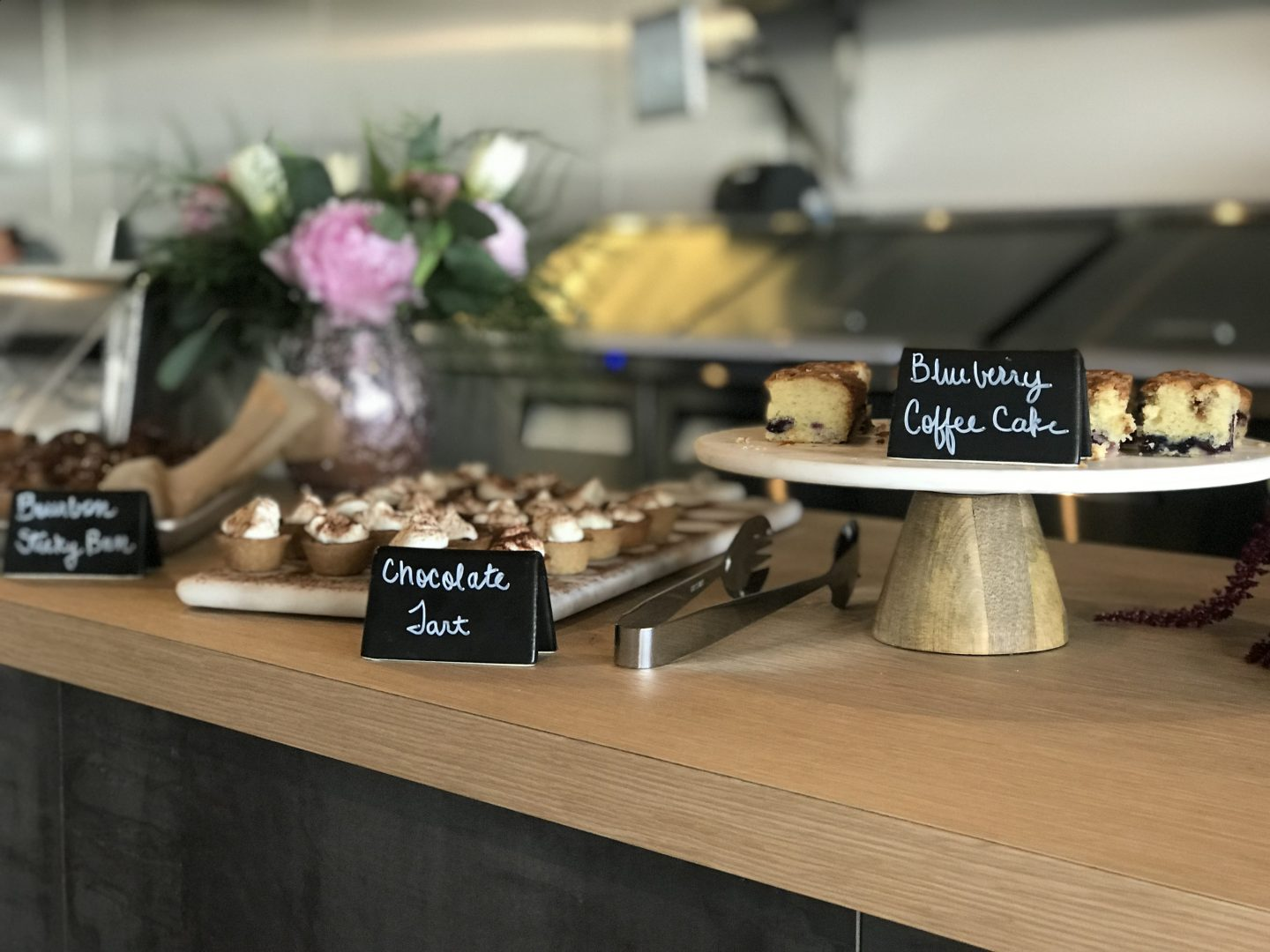 Desserts on a wooden counter