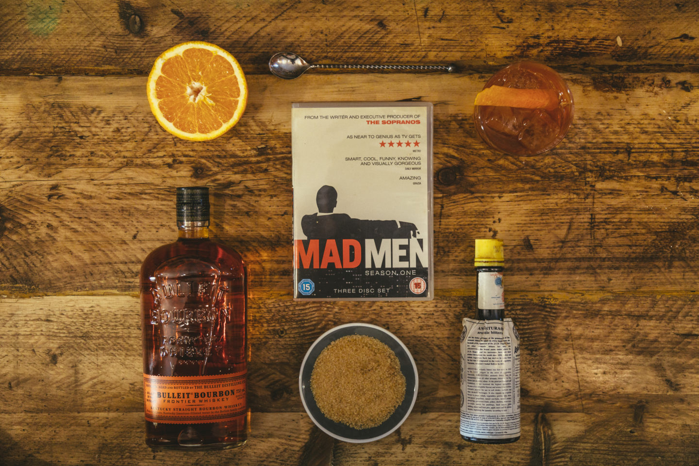 Deconstructed Bulleit Old Fashioned with ingredients