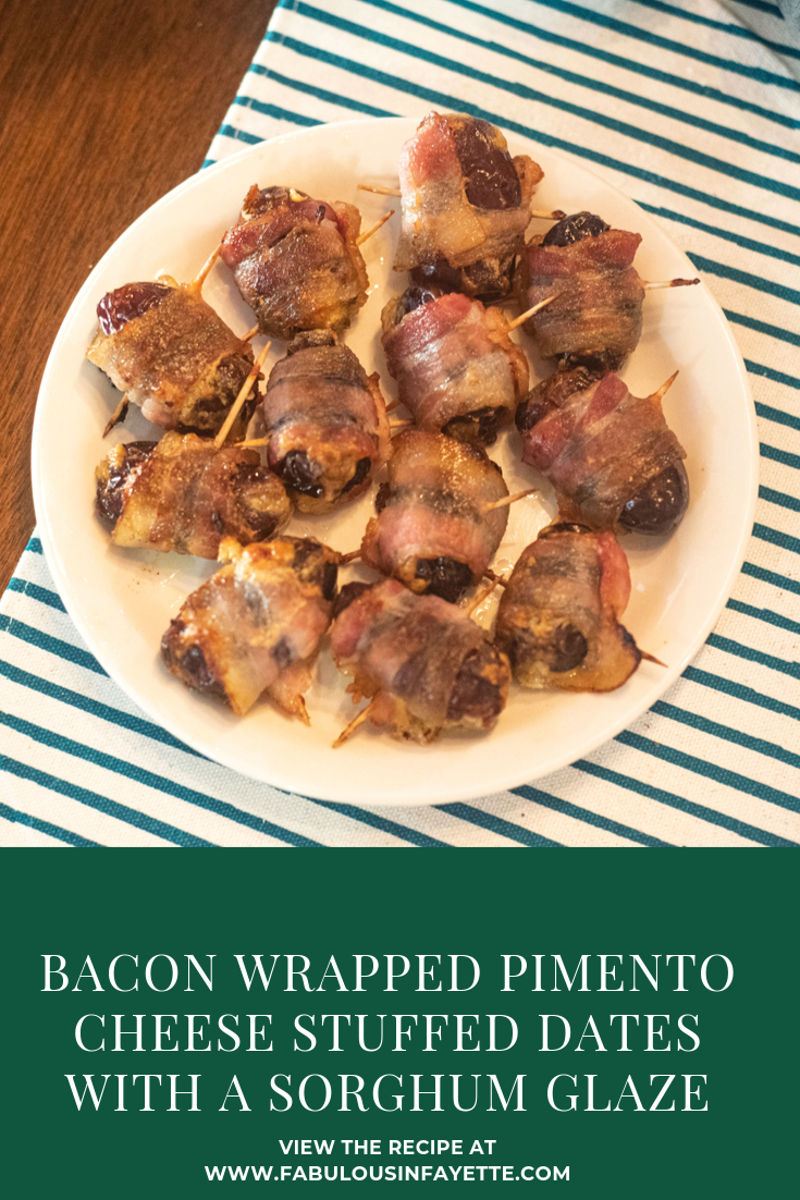 Bacon Wrapped Pimento Cheese Stuffed Dates with a Sorghum Glaze