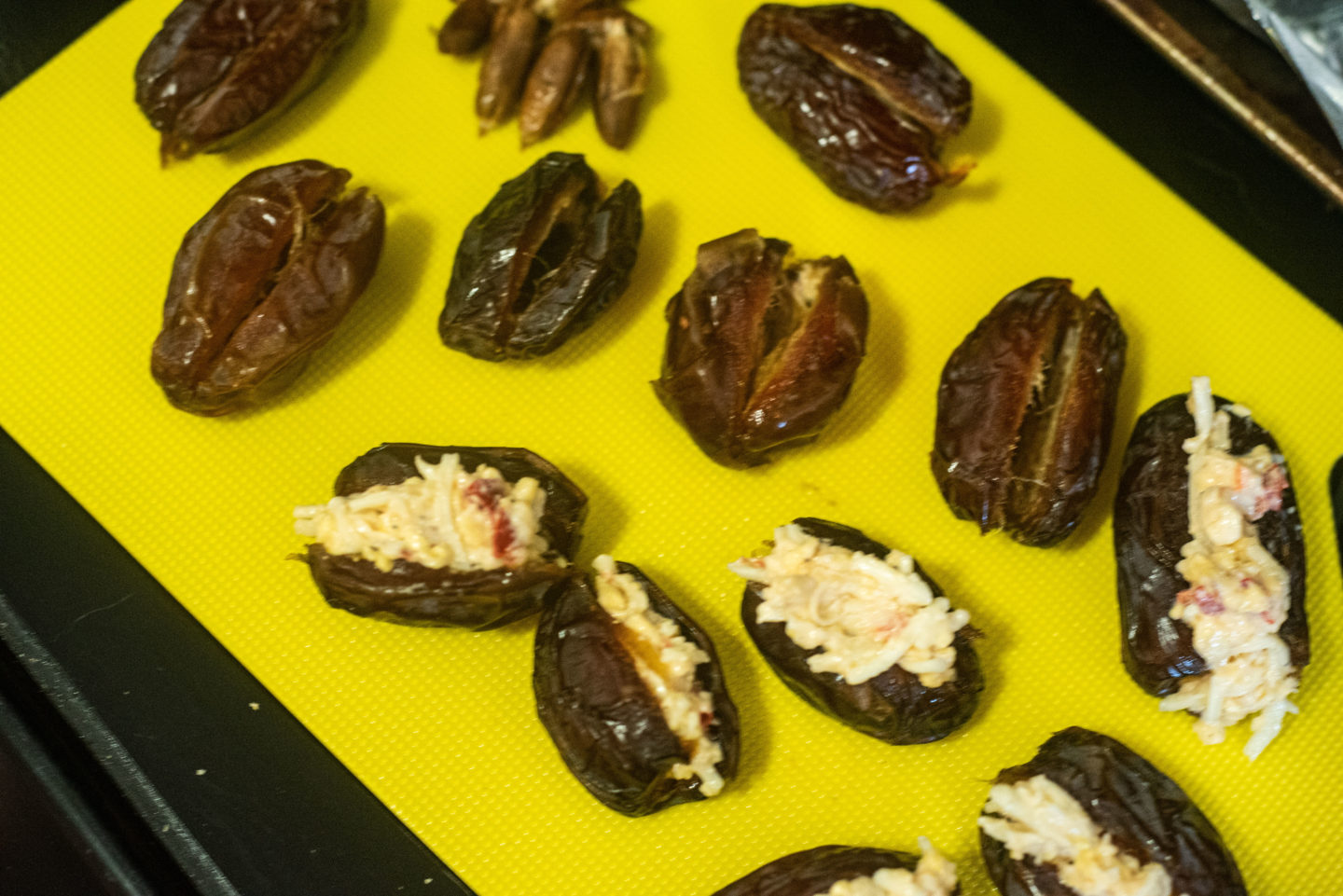 pitted dates stuffed with pimento cheese
