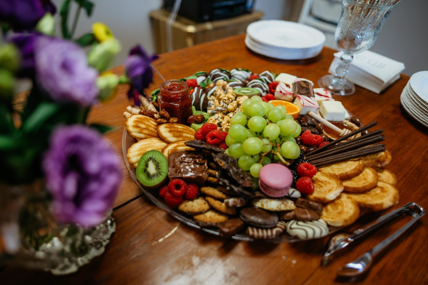 charcuterie board with fruit