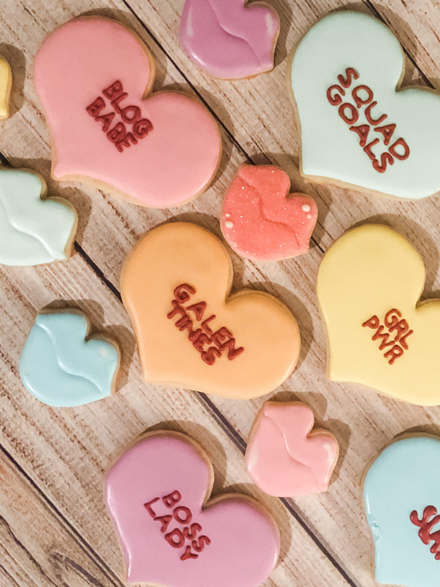 valentine's day conversation heart cookies
