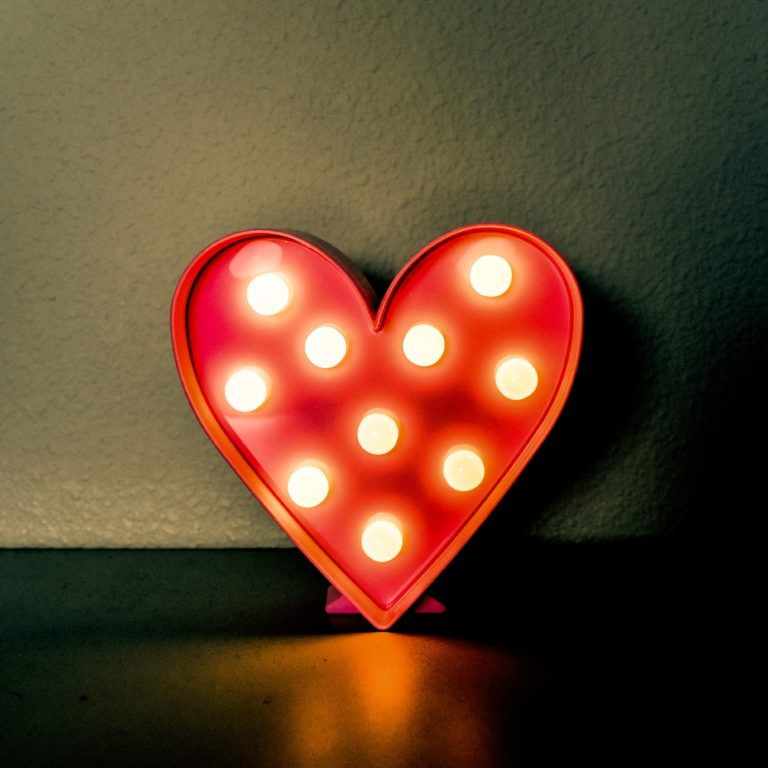 light up red and white heart