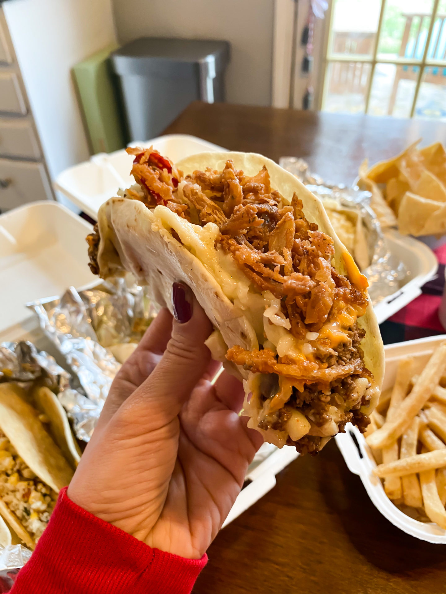 taco with fried onions
