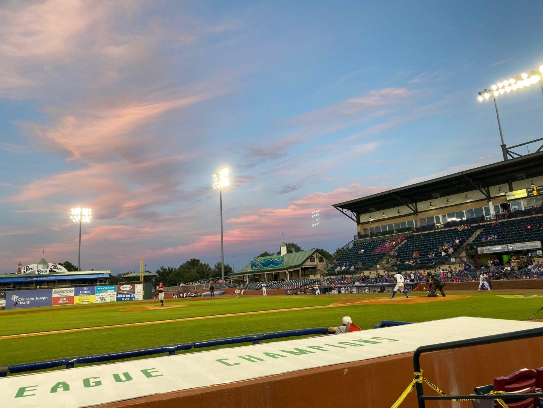 beautiful sky at a ballpark