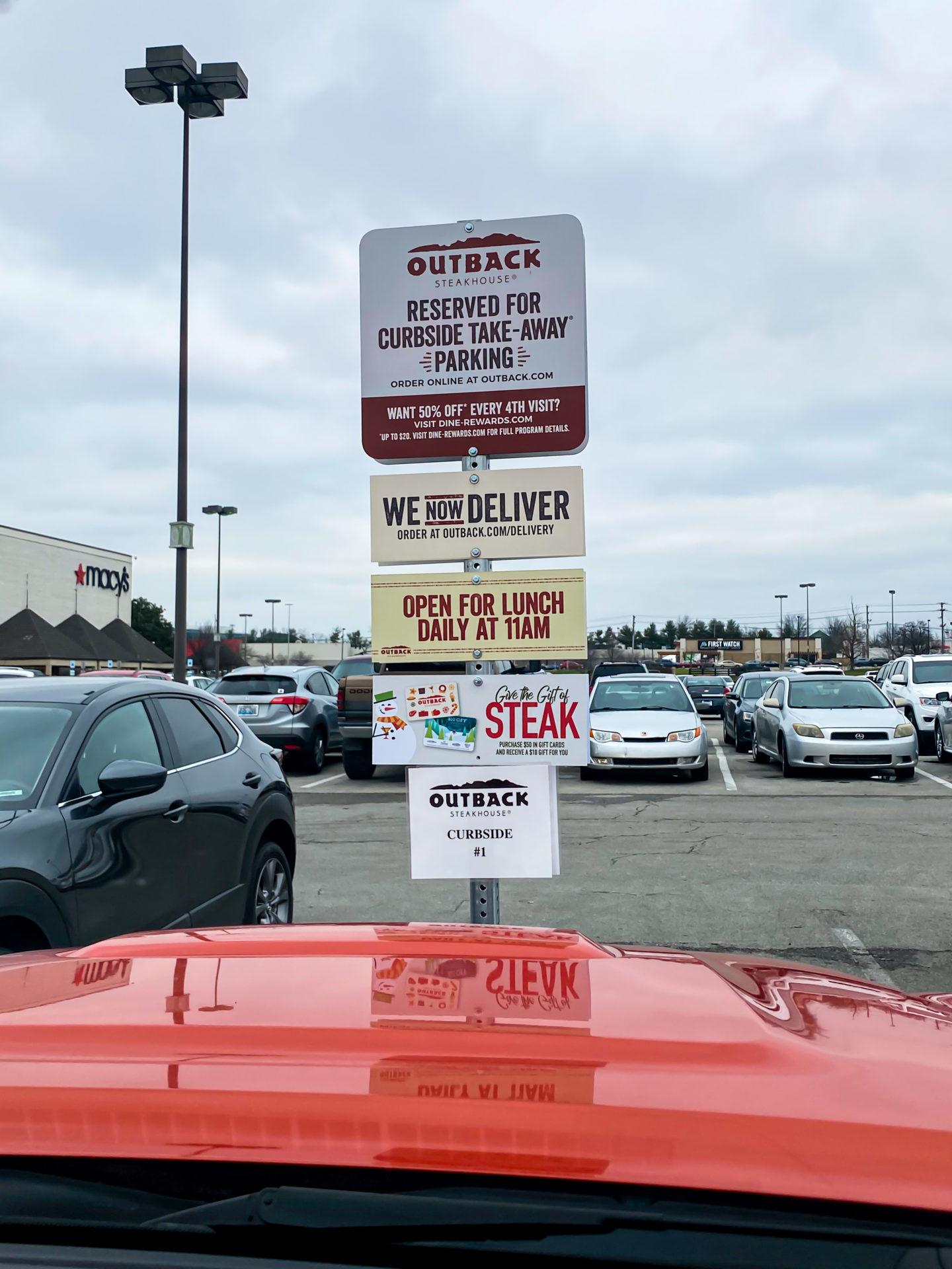 carside pickup sign