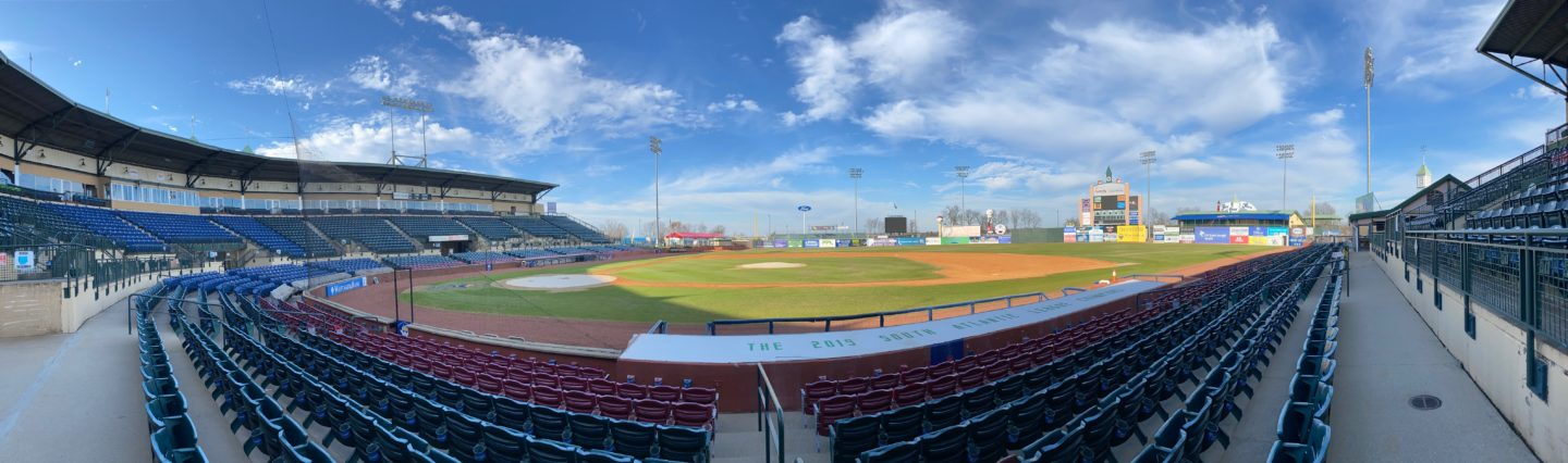 panoramic view of a ballpark