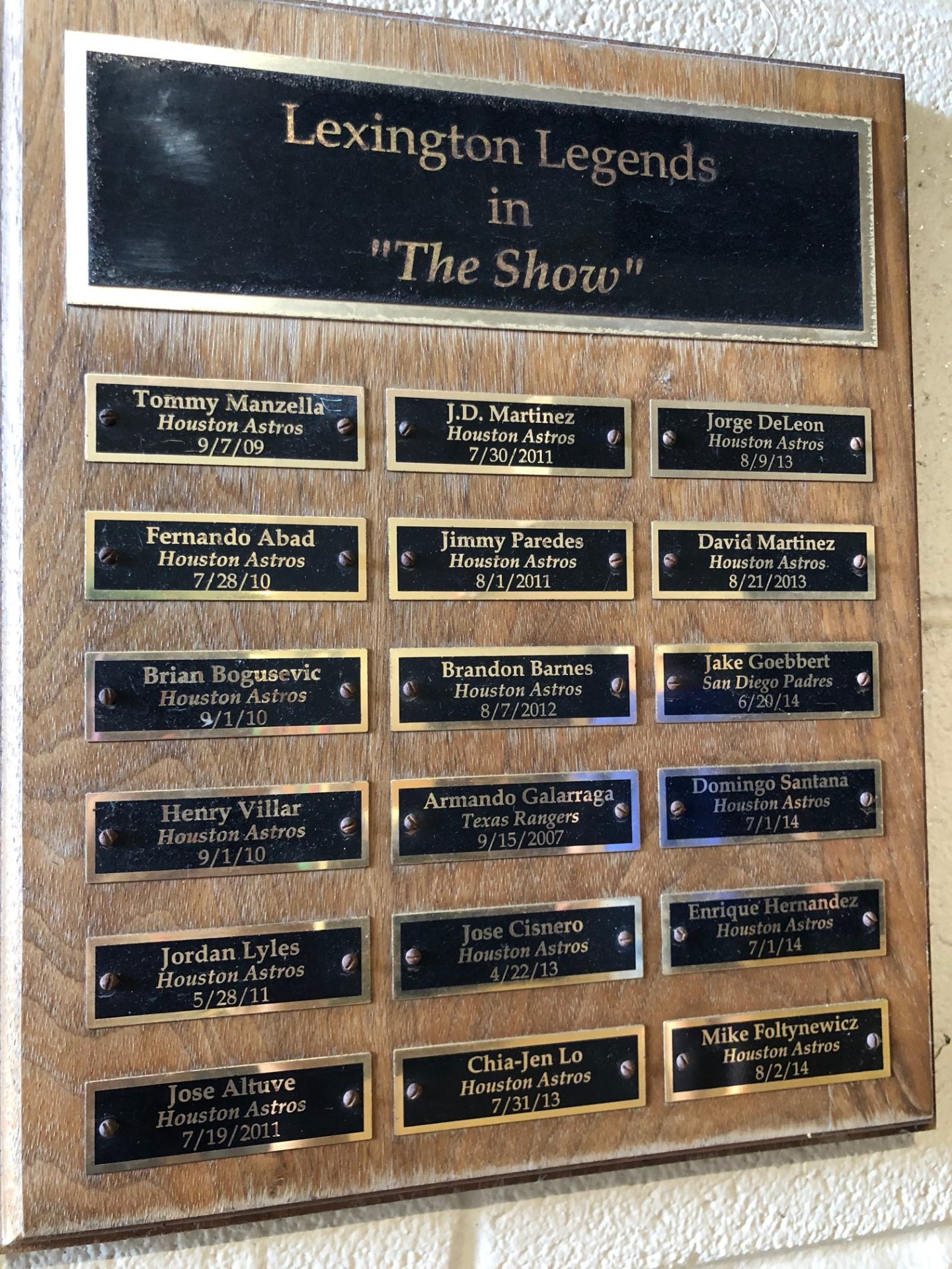 names on a plaque